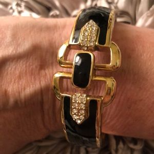 Stella & Dot Duchess Black Enamel Gold Bracelet